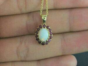 3Ct Oval Cut Fire Opal & Red Ruby Halo Women's Pendant 14k Yellow Gold Finish.
