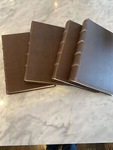 """Lot Of 4 Leather-Like Bound Photo Albums Antique Finish With Book Spine 13""""x10"""""""