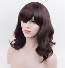 OUJF10531 mediu style women Wig dark brown health bangs curly wavy hair wigs