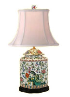 "Beautiful Chinese Porcelain Scallop Ginger Jar Table Lamp Bird Floral Motif 27"""