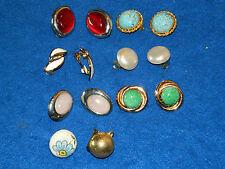vintage LOT BOUCLE D'OREILLE diverses CLIPS ART DECO bijoux ancien DOREE earring