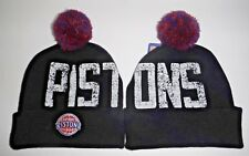 Detroit Pistons Authentic Black Beanie / Toque / Knit With Pom 2 sided  NWT NBA
