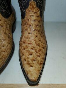 New Men's Black Jack (USA) style 210 FQ burnished tan Ostrich Cowboy Boots 5 Toe