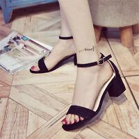 Women Buckle Open Toe Ankle Strap Heels Chunky Sandals Shoes Size 5 -9 Fashion