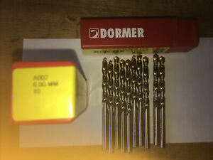 DORMER A002 HSS Tin Coated Jobber Drills High Speed Steel Twist Bits 6mm   X 10