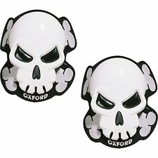 Knee Sliders Oxford SKULL For Motorycle Motorbike Leathers White (OF260) T