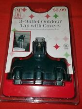 Outdoor Heavy Duty Triple Tap Three Outlet Tap w/ Covers,Christmas Lighting