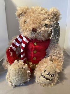 FAO Schwarz Anniversary Teddy Bear with Red Puffer Vest & Scarf  NWT Plush 2018