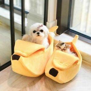 Dog Cat Bed Kennel Banana Plush Pet Soft Puppy Sleeping House Cushion Calming