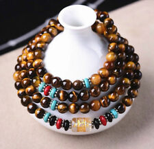 Tibetan Buddhist 108 Natural Tiger's Eye Stone Prayer Beads Mala Necklace 6mm