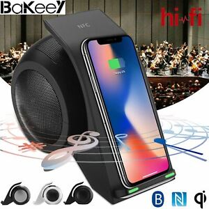 Bakeey 3 in 1 NFC Qi Wireless Fast Charger Bluetooth Stereo Speaker w LED Light