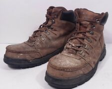 Fair Men's Wolverine Brown Leather Steel Toe Paint Covered Boots Size 9.5