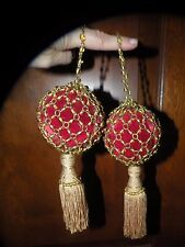 PR ANTIQUE GLASS METAL BEADED & SILK TASSEL CURTAIN TIEBACKS Christmas ornament
