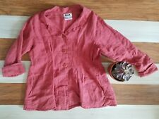 Flax Watermelon Pink Long Sleeve Oversize Button Down Blouse Top Shirt M