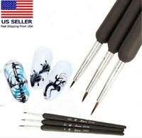 3PCS Nail Art Pen Dotting Painting Drawing UV Gel Liner Polish Brush Tool Set B