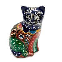 Vtg Handmade Hand Painted Folk Art Talavera Cat Figurine Mexican Pottery