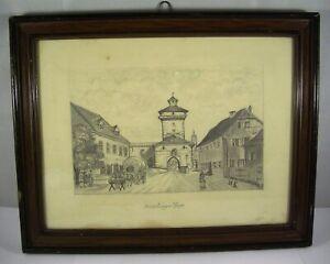 Nördlingen - Reimlinger Thor Tor - Bleistiftzeichnung - LK Donau-Ries - um 1900