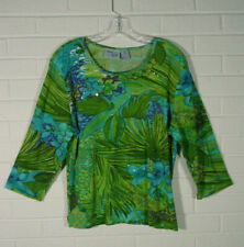 Jane Ashley Woman top cotton 3/4 sleeves blue green sequins tropical size 1X