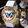 Womens Ladies Watches Butterfly Leather Strap Analog Quartz Wrist Watch Fashion
