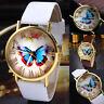 Womens Ladies Watches Butterfly Leather Strap Analog Quartz Wrist Watch Fashion