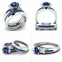 1Set Lady's Zircon Stainless Steel Wedding Band Couple Combination Ring Set Gift