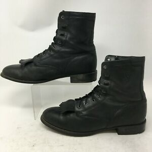 Ariat Heritage Lacer Kiltie Boots Womens 10 Black Leather Lace Up Comfort 33501