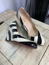Christian Louboutin 💕Patent Striped Leather Patent Wedge Pumps 38