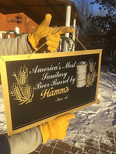 Vintage 50s Hamms Beer Sanitary Barrel Liqour Store Dealer Sign NOS 20x13