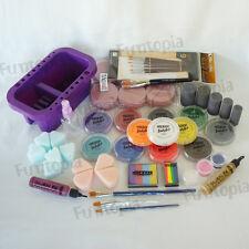 32g x12 colour Face Paint Fete kit -rainbow, sponges, brushes, glitter -starter