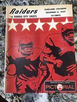 **L@@K** 1969 AFL Game Program _RARE_ ORIG Oakland Raiders Kansas City Chiefs
