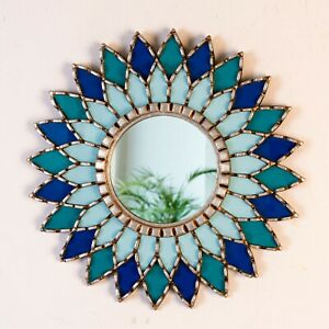 "Peruvian Blue Round Mandala Wall Mirror 17.7"", Silver Accent sunflower Mirror"