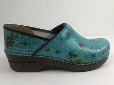 Dansko Rare Floral Leather Floral Color Turquoise Professional  Clogs Mules 39