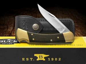Buck 110 Folding Hunter Knife Ebony Wood Handle 420HC Pocket BRS-B