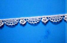 "3/8"" White Lace Trim Venice Lace Edging Rayon Scalloped Lace 5 yds #W114"