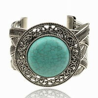 Gracious Tibet Silver Turquoise Friendship Wristband Cuff Open Bangle Bracelet