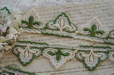1y VTG SCHIFFLI FLEUR DE LIS GREEN IVORY APPLIQUE LACE RIBBON TRIM FRENCH DRESS