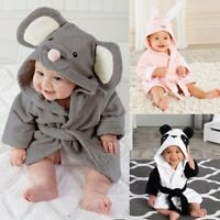 Kids Baby Boys Girl Bathrobe Cartoon Animals Hooded Towel Pajamas Clothes 1-5Y 9