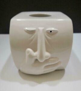 White Ceramic Sneezing Ah Choo Face Tissue Box Cover Holder