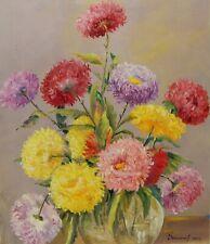 Floral Still Life Original Oil Painting by Ukrainian Artist Bokshay Vintage Art