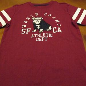 Janie & Jack sh sl shirt,NWT,Sz 5, Burgundy,Bull Dog