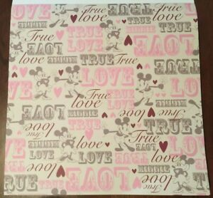 12x12 Minnie & Mickey Mouse True Love Scrapbooking Paper