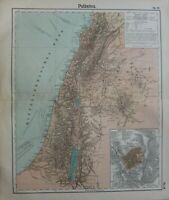 1908 Antik Landkarte ~ Palästina Jerusalem Plan Judäa Samaria Galilee Damaskus