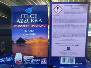 4 Conf. Felce Azzurra Diffusore Elettrico + Ricarica Profumo Notte D'estate