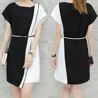 Plus Size Ladies Women Business Dress Belt O-Neck Short Sleeve Knee Length Dress