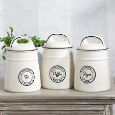 off-White & Black Tea Coffee Sugar Storage Jars Set Kitchen Containers Canisters