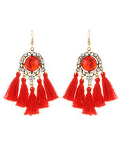 5 pairs of red tassel detailed dangle drop earrings beautifully made