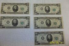 Lot of 5 - 1950A, 1950B, 1950C 1950C, 1950D - $20 Federal Reserve Notes