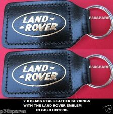RANGE ROVER CLASSIC P38a L322 SPORT L405 EVOQUE .BLACK REAL LEATHER KEY RINGS X2
