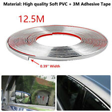 10mm*12.5M Car Door Window Bumper Decoration Moulding Trim Silver Chrome Strip