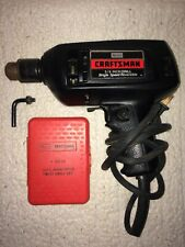 "1970's Sears Craftsman 3/8"" Reversible Drill w/ 13 Pc High Speed Twist Drill Set"